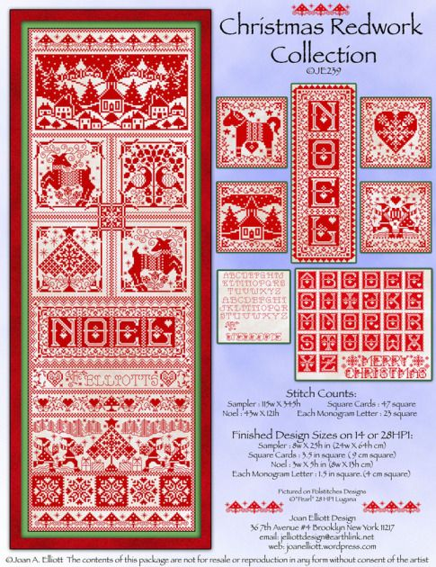 Christmas Red Work Collection JE239